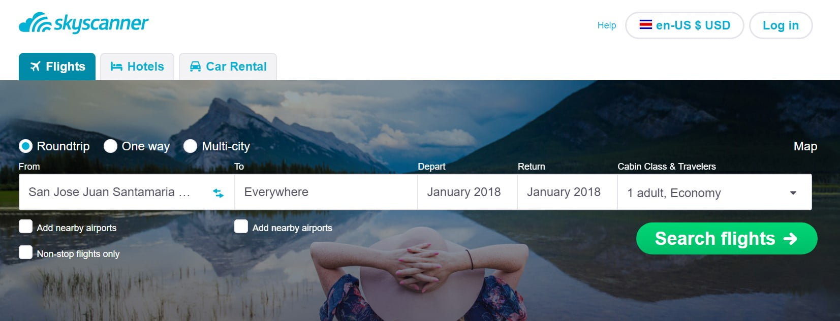 """Skyscanner """"Everywhere"""" feature"""