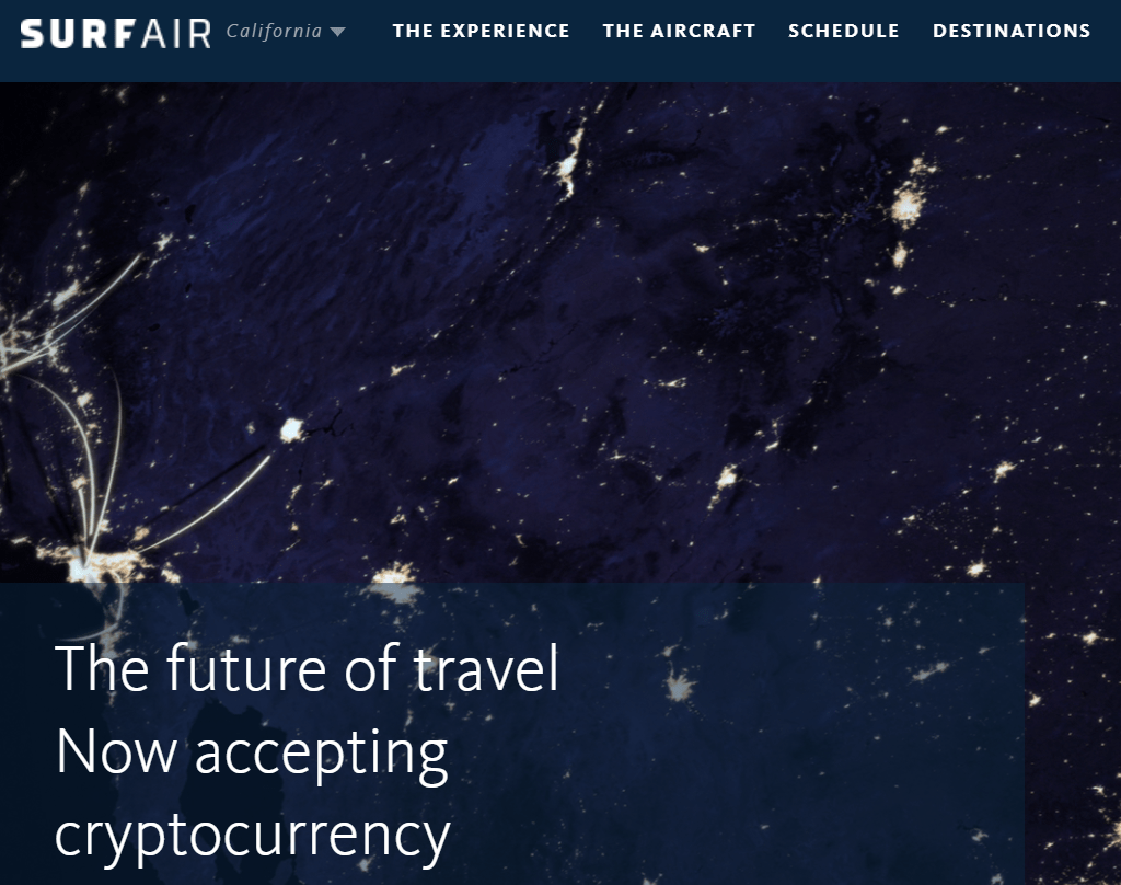 Surfair is one of the 7 ways to use cryptocurrency for travel