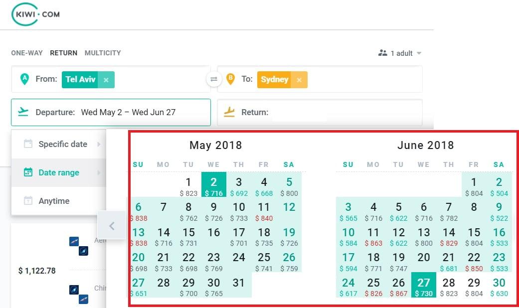 Kiwi.com Date Range