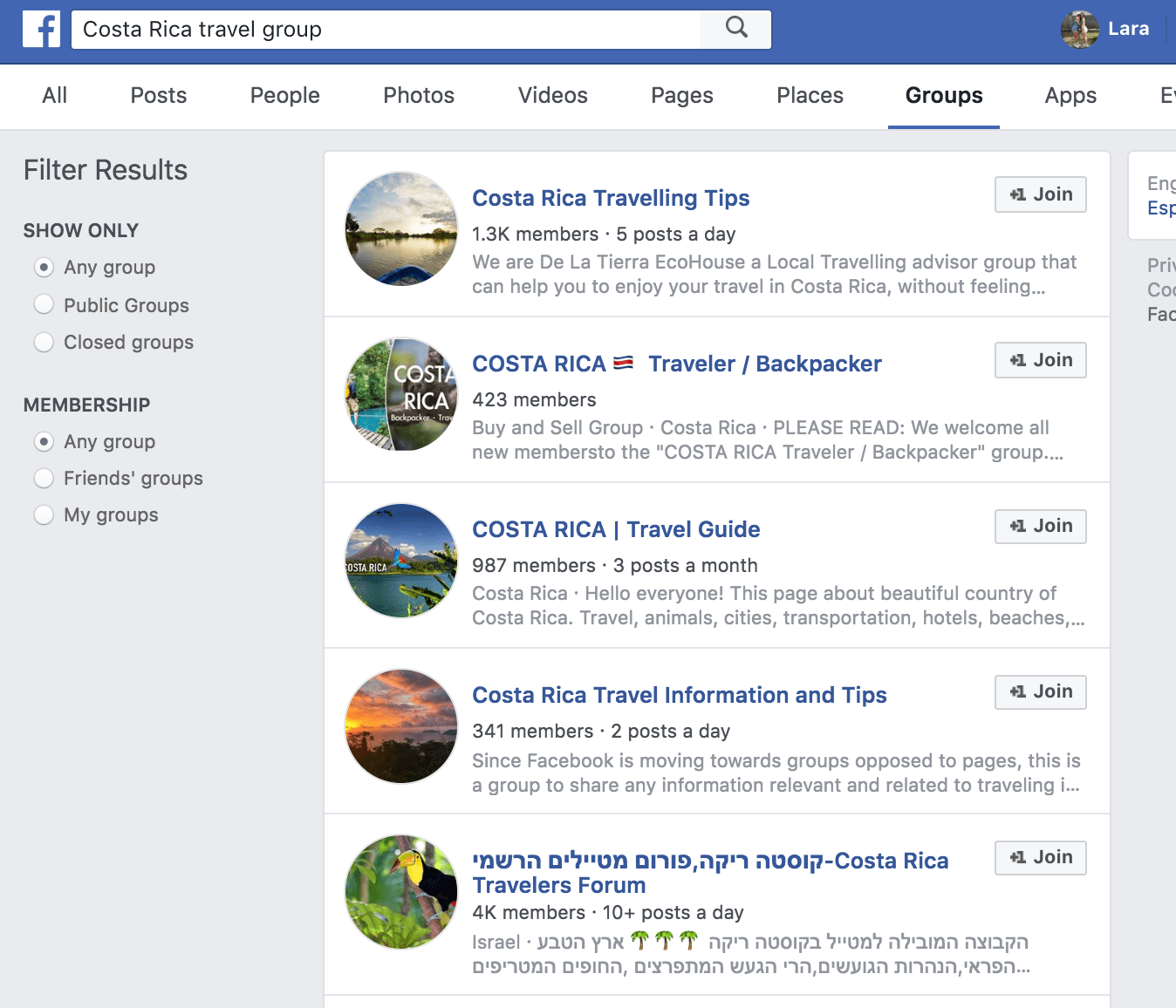 Use FB to research for your trip