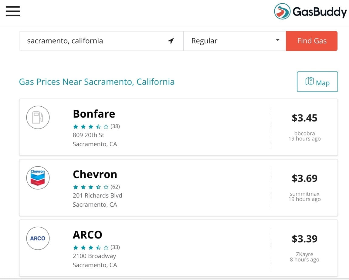 Gasbuddy travel site for lowering fuel costs