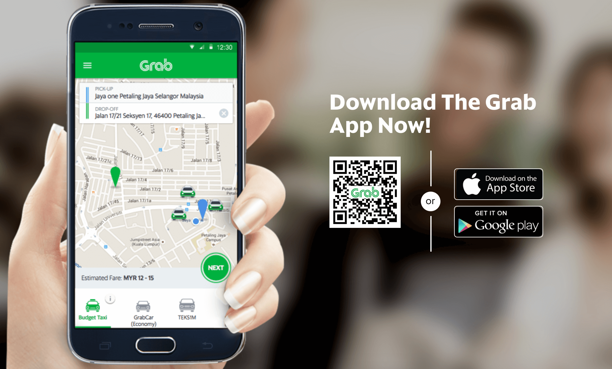Grab travel site for ride sharing