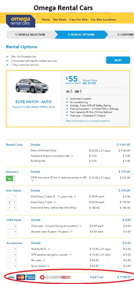 Which company offers the cheapest car rental in New Zealand