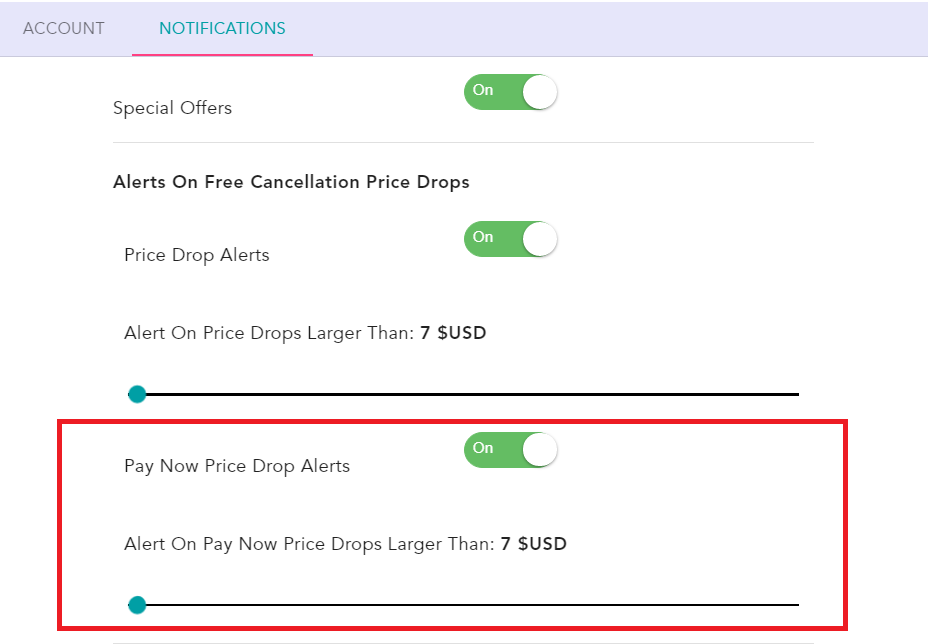 how to receive only pay later price drop alerts