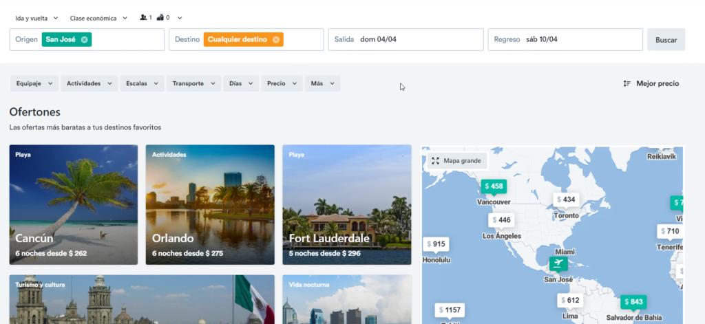"""Kiwi.com permite escoger """"cualquier lugar"""" como destino."""