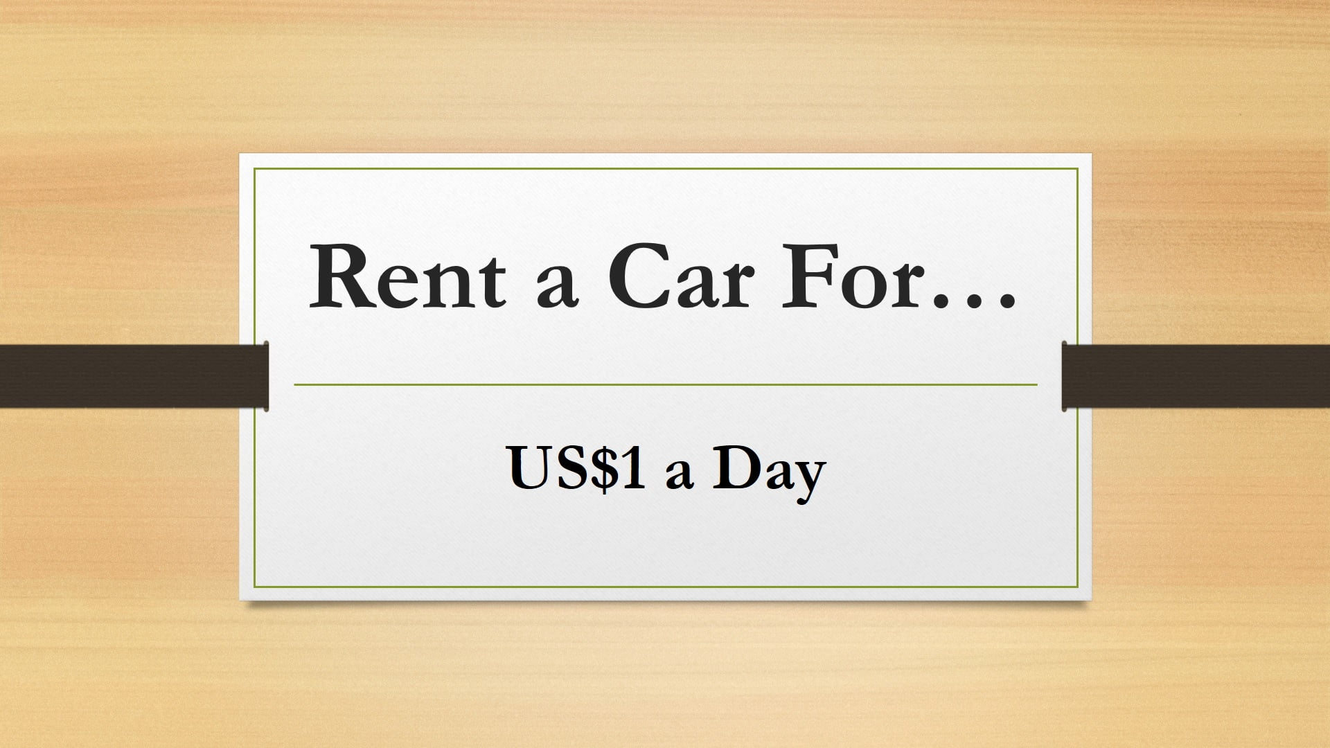 Rent a car for $1 a day